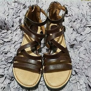 boc Shoes - BOC Brown Leather Strappy Gladiator Sandals Size10
